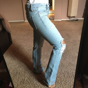 AE ripped blue jeans size 0